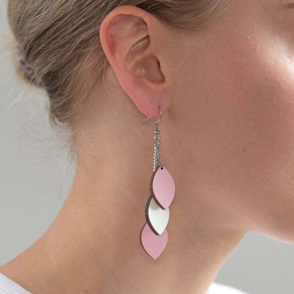 Laav Collection Mussukka roikkuva naisten pinkki/valkoinen korvakoru